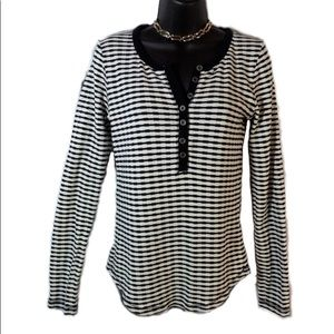 Lucky Brand Lg. Black White Stripe Thermal Henley